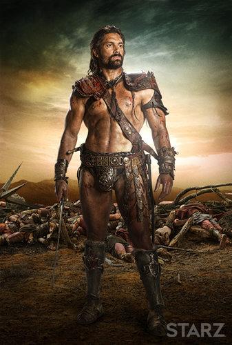 Crixus portrayed by Manu Bennet
