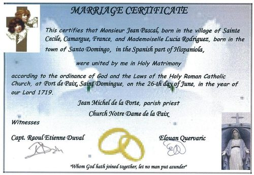 Marriage certificate Jean and Lucia