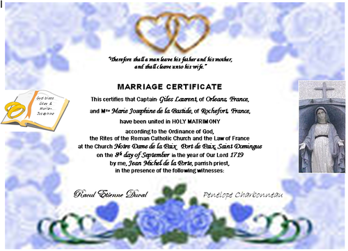 Marriage certificate Giles And Marie