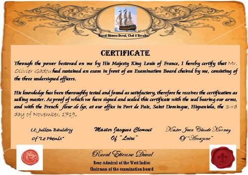 Sailing master's certificate